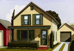 Artwork by American contemporary artist Kenton Nelson Landscape Artwork, Fantasy Landscape, Urban Landscape, Grant Wood, Diego Rivera, The New Yorker, Montenegro, American Scene Painting, Landscape Paintings