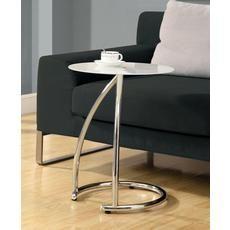 Table D'Appoint Metal Chrome Avec Verre Trempe Givre