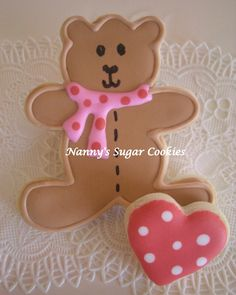 valentine teddy bear cookies - Google Search