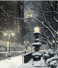 City in snow.