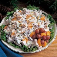 Turkey Mandarin Salad Recipe -A refreshing, interesting combination of turkey, pasta and fruit with a lightly sweet dressing makes this a family favorite. I found the recipe in an old church cookbook years ago. —Bernice Smith, Sturgeon Lake, Minnesota