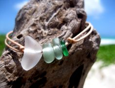 Hawaiian Ombre Aqua Blue Teal Beach Glass and Clear Beach Glass Tiny on India Leather Cord Completely Adjustable & Stackable Bracelet by LindseysBeachGlass, $31.00