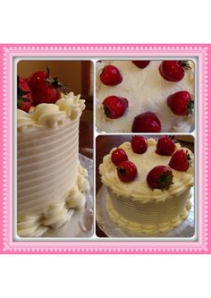 Red velvet cake filled with strawberries iced with cream cheese icing and whole strawberries