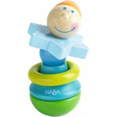 Haba 3253 - Drewniana Grzechotka Gryzak Monsieur z Głową Klauna rekomendowana dla dzieci od 10 miesięcu miesięcy
