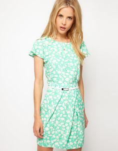 ASOS Mini Tulip Dress With Flute Sleeves In Pastel Print  $66.10