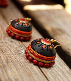 Silk Thread Bangles Design, Thread Jewellery, Funky Jewelry, Fabric Jewelry, Personalized Jewelry, Handmade Jewelry, Teracotta Jewellery, Terracotta Jewellery Designs, Terracotta Earrings