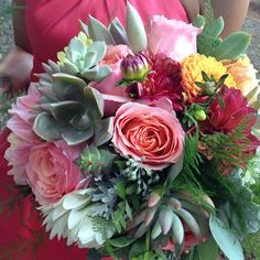 Bridesmaid bouquet with pink roses, canary dahlias and mint green and gray toned succulents. Portland, Oregon. Bohemian Bouquets.