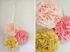 Pom Poms are just perfect for wedding décor! Here are some creative uses and DIY resources for incorporating pom poms into your wedding festivities! Handmade Wedding Decorations, Wedding Crafts, Wedding Blog, Wedding Ideas, Decor Wedding, Wedding Reception, Wedding Stuff, Wedding Favours, Party Wedding