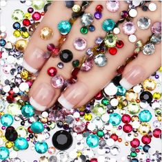 2000Pcs Colorful Flat Back Nail Art Rhinestones Glitter Gems 3D Tips Diy  Decor Nail Art 3d d049963d49b9