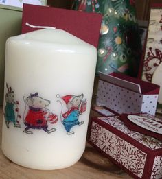 Decorated candle. Merry Mice,around a candle Stampin' Up.