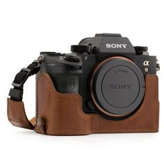 MegaGear Sony Alpha A7 III Ever Ready Genuine Leather Camera Half Case and Strap, with Battery Access - Brown - MG1244