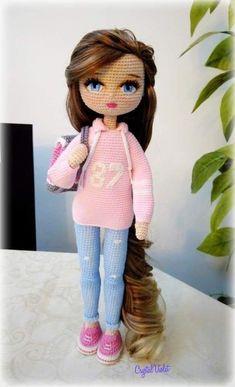 Teenage cutie - cutie teenage - Her Crochet Crochet Doll Tutorial, Crochet Doll Pattern, Easy Crochet Patterns, Crochet Patterns Amigurumi, Amigurumi Doll, Doll Patterns, Cute Crochet, Crochet Baby, Crochet Geek