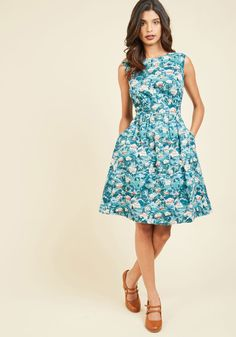 Too Much Fun A-Line Dress in Winter Getaway. Theres no such thing as overloading on fun - but if it were possible, why not go all-out in this blue A-line! #multi #modcloth