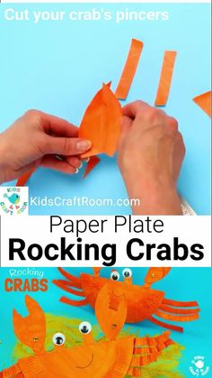 This interactive Rocking Paper Plate Crab Craft is such a fun Summer craft for kids. With this simple paper plate craft kids make crab toys that rock from side to side and have moveable nipping pincers! #kidscraftroom #paperplatecrafts #crabs #crabcrafts #kidscrafts #craftsforkids #kidsactivities #summercrafts #preschoolcrafts #crab #paperplates #beachcrafts #oceancrafts Summer Crafts For Kids, Animal Crafts For Kids, Paper Crafts For Kids, Crafts For Kids To Make, Preschool Crafts, Fun Crafts, Craft Kids, Summer Activities For Kids, Summer Art