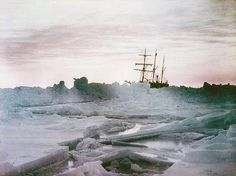 Shackleton's Antarctica, in color—A midwinter glow, Weddell Sea showing the Endurance. Photographed by Frank Hurley, 1915