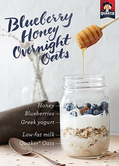 Layer 5 ingredients to make a delicious breakfast in a jar! Mix equal amounts of milk and oats in a jar, top with Greek yogurt, blueberries and a teaspoon of honey for a little touch of sweetness in Quaker® Blueberry and Honey Overnight Oats. Refrigerate overnight and grab in the morning for a hearty on-the-go breakfast. Ingredients: 1/2 cup(s) Quaker® oats, 1/4 cup(s) Greek yogurt, ½ cup(s) low-fat milk, ½ cup(s) blueberries, 1 tablespoon(s) honey
