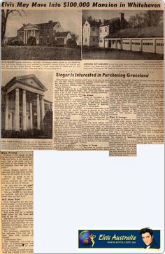 Elvis may move into Graceland Newspaper article : 1956