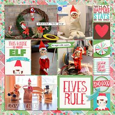 Digital Scrapbooking Layout with Just Jaimee - Real Life in Pockets: Shelf Elf by Just Jaimee and Mommyish; Gesso Bits by Just Jaimee; Templates: Storyteller February 2014 Bundle by Just Jaimee; Style: Christmas Foil Photoshop Styles by Just Jaimee; Font: DJB PROJECT STORYTELLER by Darcy Baldwin