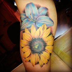 Sunflower and Lily tattoo done by Kelvin from Visual Orgasm Singapore this is almost exactly what I want on my shoulder! Sunflower Tattoo Shoulder, Sunflower Tattoo Small, Sunflower Tattoos, Sunflower Tattoo Design, Watercolor Sunflower Tattoo, Watercolor Tattoo, Cover Up Tattoos, Sexy Tattoos, Body Art Tattoos