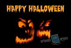 Halloween Postkarte mit zwei leuchtenden Kürbissen. Alle Urlaubsgruss.com Halloween Vorlagen findet Ihr in unserer Vorlagen Gallerie auf der Urlaubsgruss.com Webseite und den Urlaubsgruss Apps für iPhone und Android