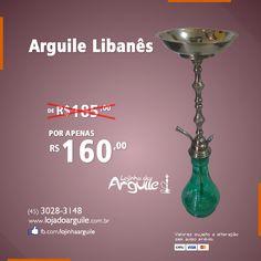 Arguile Libanês De R$ 185,00 / Por R$ 160,00 Em até 18x de R$ 11,62 ou R$ 152,00 via depósito Compre Online: http://www.lojadoarguile.com.br/arguile-libanes
