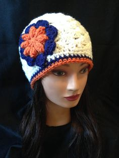 Women's Crochet NFL Chicago Bears Denver Broncos Handmade Flower Hat. Can be made in any other team colors.  https://www.etsy.com/listing/216566135/womens-nfl-chicago-bears-denver-broncos?ref=shop_home_active_1