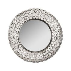 Pebble Nickel 33-Inch Round Mirror