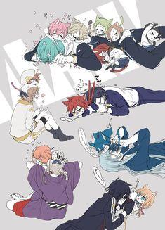If the smaller swords became tiny nekos Anime Chibi, Anime Art, Fuwa Fuwa, Touken Ranbu Characters, Anime Couples Drawings, Japanese Cartoon, Cute Chibi, Manga Games, Kuroko