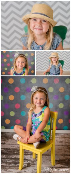 4 year old, girl, chevron, turquoise rocking chair, colorful, hat | SMR Photography