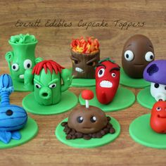 Handmade Plants vs Zombie cupcakes toppers made using our in house marshmallow fondant. Zombie Birthday Parties, Zombie Party, Birthday Bash, P Vs Z, Plantas Versus Zombies, Zombie Cupcakes, Mario Toys, Sugar Cookie Cakes, Plant Zombie