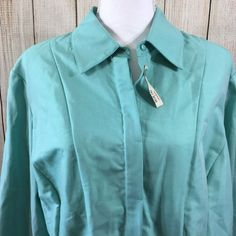 Coldwater Creek Womans Plus Size 1X Button Down Career Blouse Green  | eBay