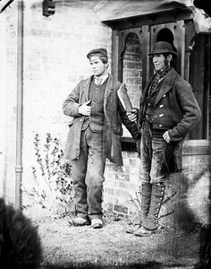 National Library of Ireland on The Commons February 1870 Two workmen on the Clonbrock Estate, Ahascragh, Co. Thanks to Robert Riddell for identifying the building as the Photograph or Photographic House at Clonbrock. Vintage Pictures, Old Pictures, Vintage Images, Old Photos, Vintage Men, Vintage Style, Victorian Men, Millenium, Vintage Photographs