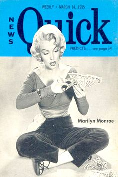 1955 March edition: Quick magazine cover of Marilyn Monroe .... #normajeane #vintagemagazine #pinup #iconic #raremagazine #magazinecover #hollywoodactress #monroe #marilyn #1950s