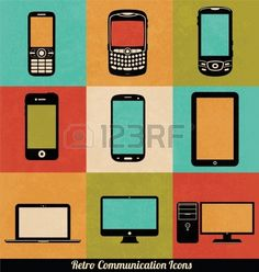 Retro Communication Icons Stockfoto
