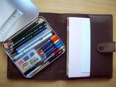 I want to make a travel journal/ sketch kit like this! #sketchkit #urbansketching #traveljournaling