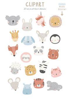 Cute Animal Illustration, Cute Animal Drawings, Cute Drawings, Illustration Art, Animal Doodles, Cute Doodles, Animal Faces, Cute Stickers, Doodle Art