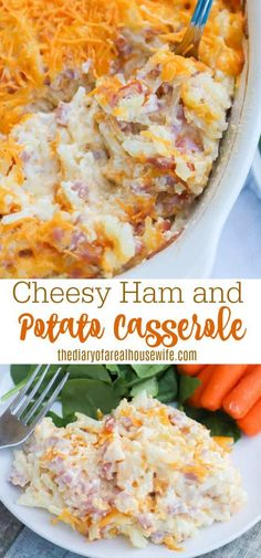 This Cheesy Ham and Potato Casserole is one of our favorite dinner recipe. Plus it's perfect for leftover ham. Side Dish Recipes, Easy Dinner Recipes, Easy Recipes, Dinner Ideas, Ham And Potato Casserole, Casserole Dishes, Casserole Recipes, Easy Family Meals, Family Recipes