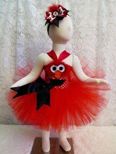 0  12mo Elmo  Face Tutu Dress & Matching Headband by cd1ofakind