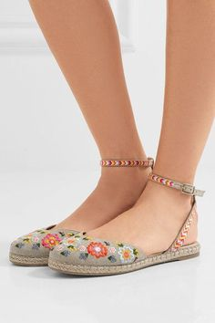 Tabitha Simmons - Dotty Festival Embroidered Canvas Espadrilles - Taupe - IT