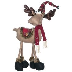 Reindeer Ranch Standing Moose In Hat Figurine - x x Brown, Sullivans (Polyester)Love this Scarf Reindeer Statue on Christmas Moose, Christmas Sewing, Christmas Wreaths, Christmas Crafts, Christmas Ornaments, Christmas Tabletop, Farmhouse Christmas Decor, Holiday Themes, Holiday Decor