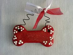 Personalized Dog Bone Ornament or magnet by picketfencecrafts, $4.99