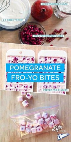 Frozen Yogurt Bites, Frozen Greek Yogurt, Frozen Yogurt Recipes, Healthy Treats, Healthy Eating, Delicious Desserts, Yummy Food, Snack Recipes, Healthy Recipes
