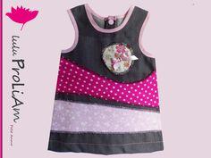 Robe bébé trapèze, chasuble, 3/6 mois, robe tendance et moderne fabriquée en France pour petite princesse : Mode Bébé par lulu-proliam