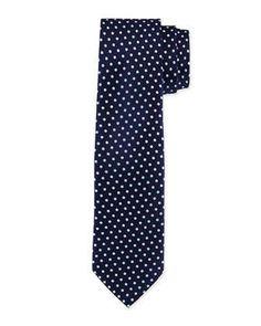 Polka-Dot Silk Tie, Navy/Light Blue by Charvet at Neiman Marcus.