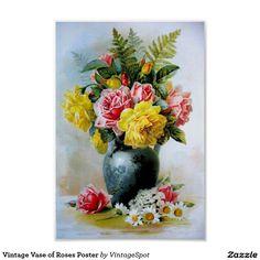 Vintage Vaas van het Poster van Rozen