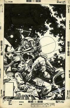 Battlestar Galactica 20 Cover. Pen/India ink. 10 x 15. 1980 - art by Walter Simonson
