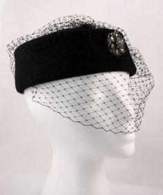 Hey Viv ! Black Pill Box Hat w Veil and Rhinestone Clip Hey Viv !. $32.95
