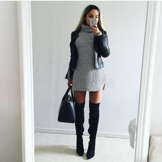Winter style, black boots, leather jacket
