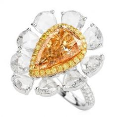 Yellow Diamond Engagement Ring, Antique Engagement Rings, Natural Brown, Rose Cut Diamond, Floral Motif, Cocktail Rings, 18k Gold, White Gold, Inspired