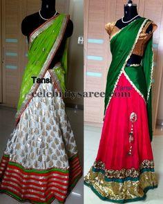Pretty Designer Half Sarees | Saree Blouse Patterns